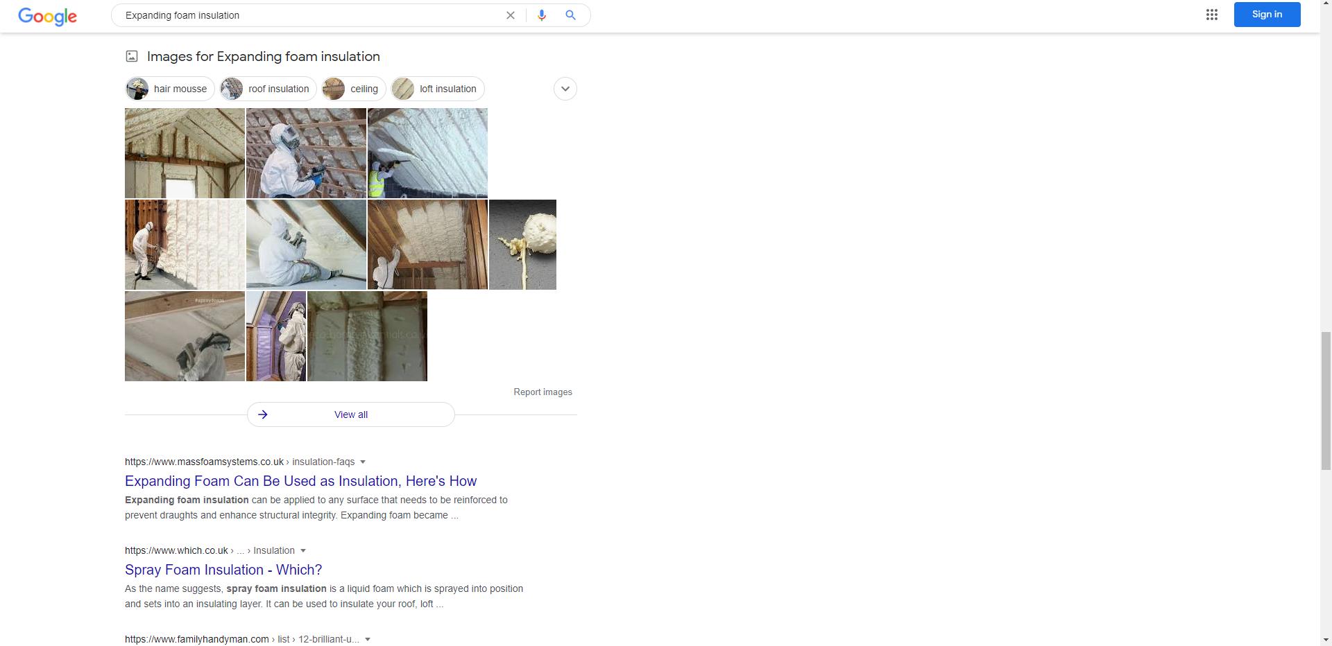 Google Expanding Foam Insulation Result