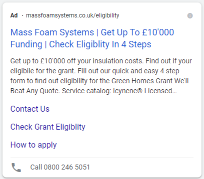 Mass Foam Systems example ad containing phone number